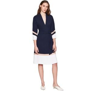 NWT Joie Aydrien Striped Cady Midi Dress in Navy